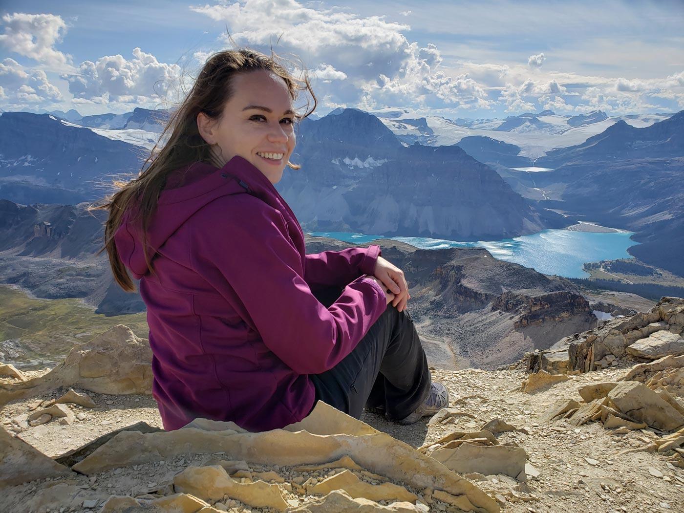 Jolene Rempel on Cirque Peak, Banff National Park.