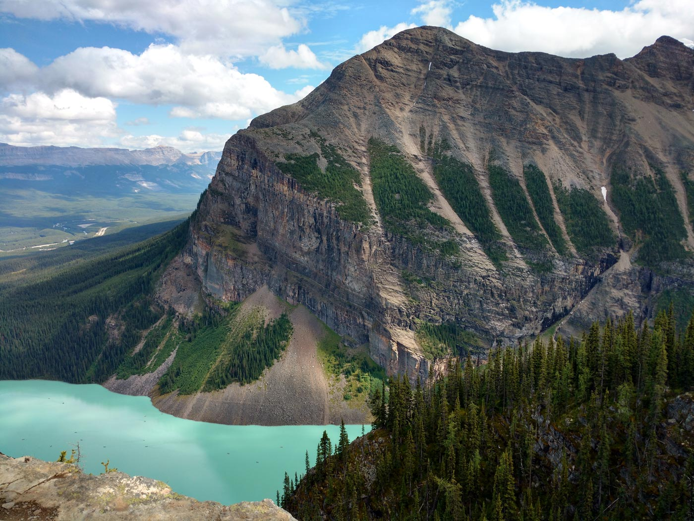 Lake Louise from the Big Beehive in Banff National Park, Alberta, Canada.