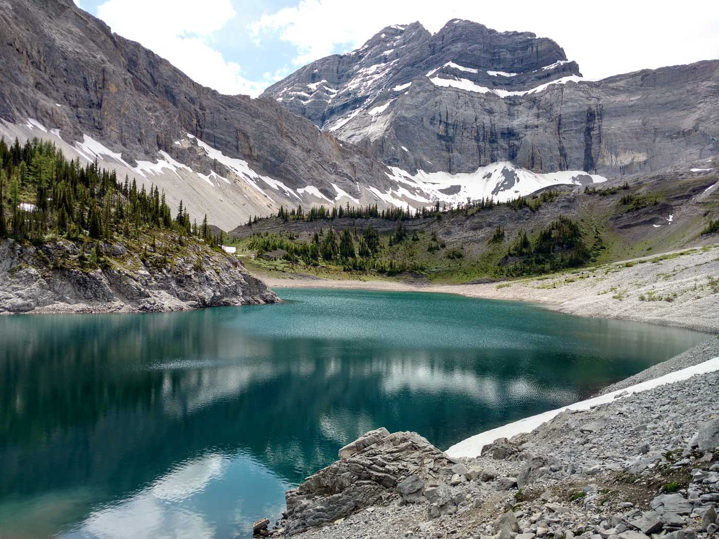 Lower Galatea Lake in Kananaskis Country, Alberta, Canada.