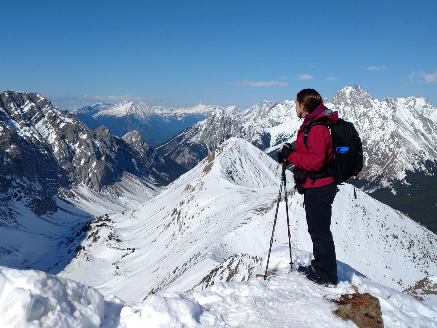 Jolene Rempel atop Pocaterra Ridge in Kananaskis Country, Alberta, Canada.