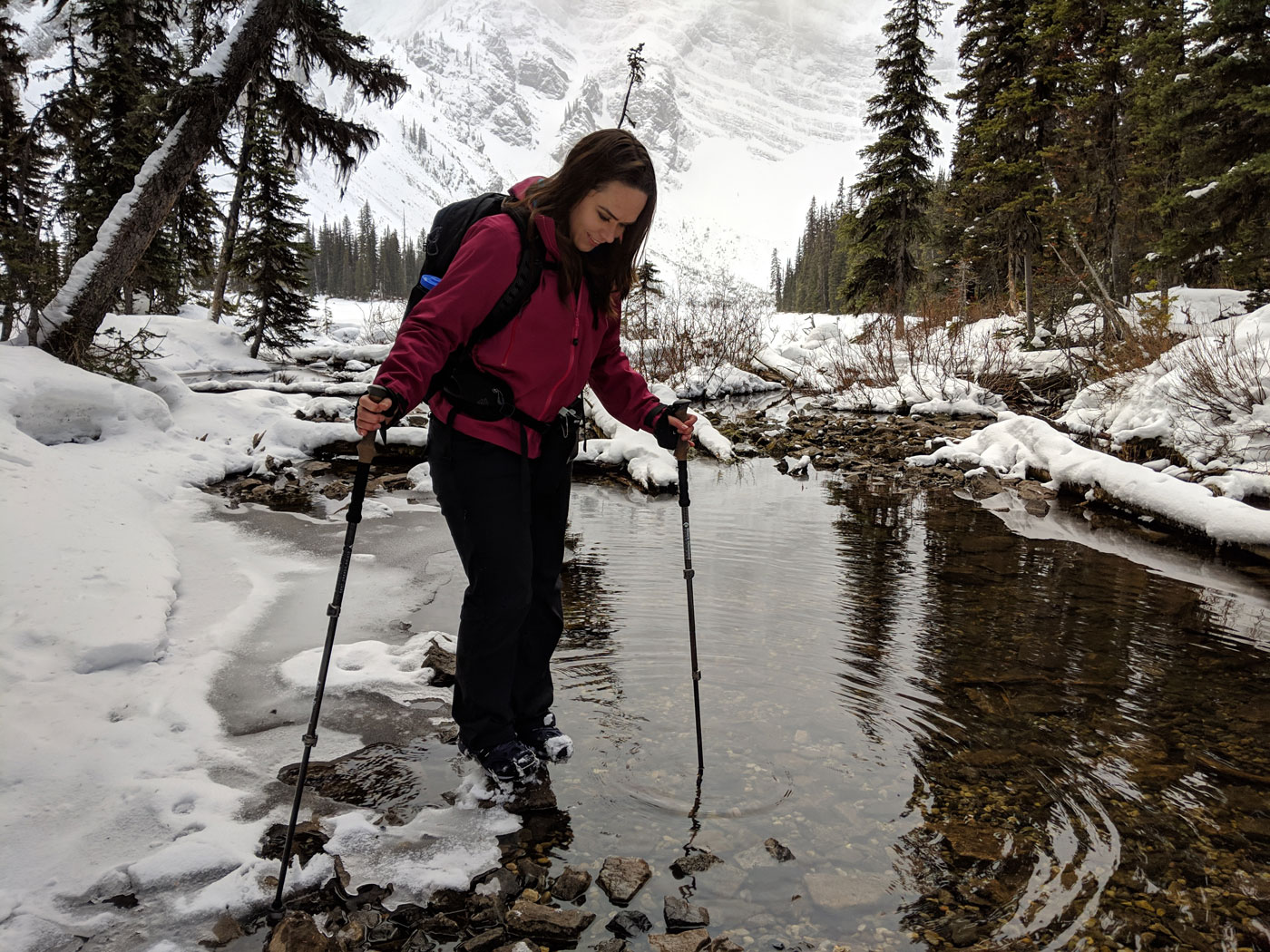 Rawson Lake hike in winter in Kananaskis Country, Alberta, Canada.